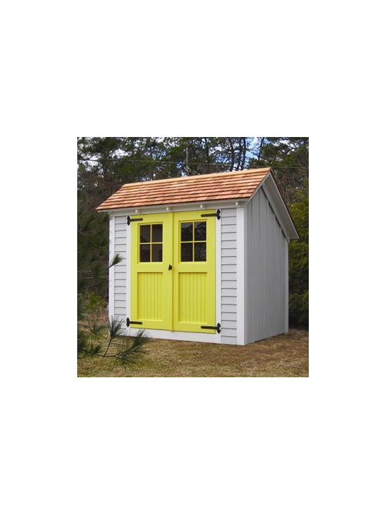 6' x 8' Stony Brook Saltbox Shed - Make it the highlight of your yard with imaginative upgrades like front wall clapboard complementing board and batten siding. Red Cedar shingled roof, 5' double beadboard door, custom color sash and strap hinges.