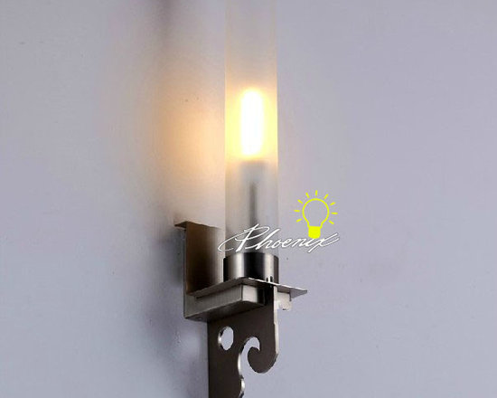 Modern Depolished glass nickel Wall Sconce in Bushed Finish - Modern Depolished glass nickel Wall Sconce in Bushed Finish