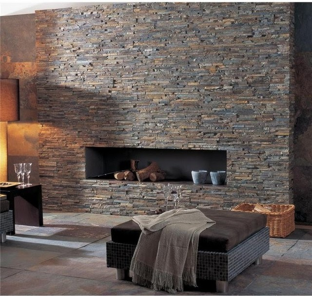 Ledger Panel Stacked Stone Wall and Fireplaces - mediterranean ...