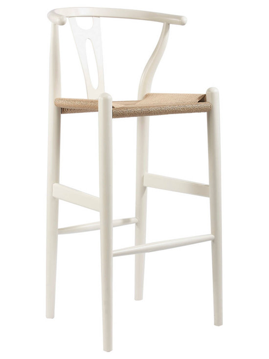 Baxton Studio - Baxton Studio Mid-Century Modern Wishbone Stool - White Wood Y Stool - This mid-century bar chair features traditional wood construction paired with a modern form, resulting in a unique piece for your home. The frame consists of solid wood with a white finish, a curved backrest, and sturdy, taut unfinished natural hemp cord seat. This item will arrive fully assembled and is also available in green or as a dining chair in natural, dark brown, pink, green, black, or white (each sold separately). This is a quality reproduction of the Hans Wegner Wishbone Chair, which is also known as the Wegner Y Chair, Carl Hansen Wishbone Chair, CH24 Wishbone Chair, and the Wegner CH24.