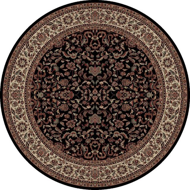 Merinos prestige black area rug 7 39 10 round for Round contemporary area rugs