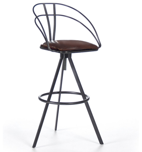 Blackthorne industrial loft adjustable height leather bar stool transitional bar stools and