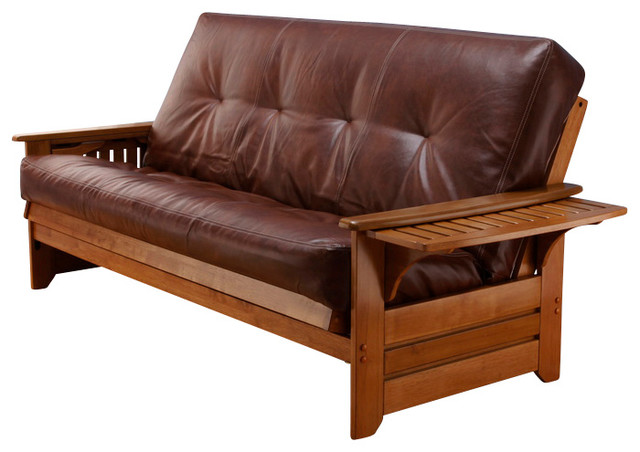 Phoenix Butternut Futon Frame with Futon Mattress in Oregon Trail Saddle, Withou transitional-futon-frames