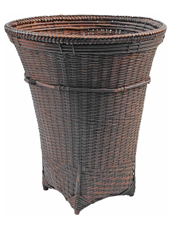 Laotian Bamboo Basket - A rare old woven bamboo basket from southern Laos with a nice aged patina.