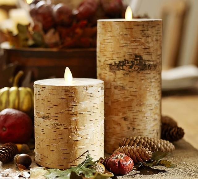 Flameless Flicker Birch Pillar Candles Contemporary