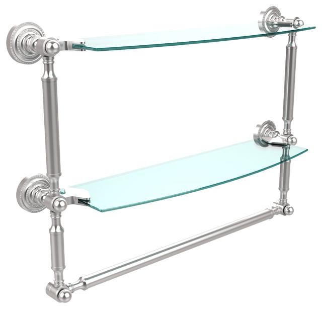 18 x5 double shelf with towel bar satin chrome
