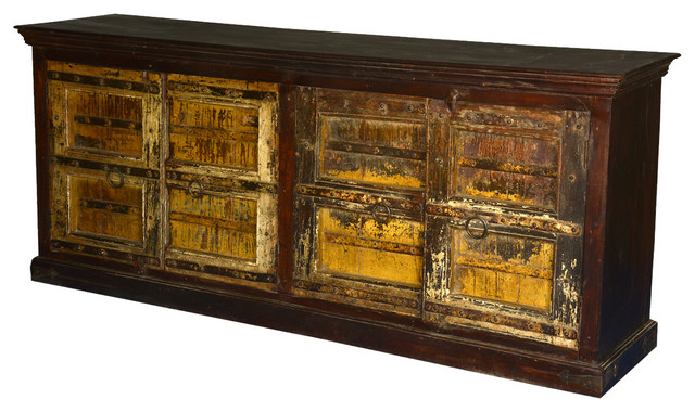"Mediterranean 86"" Long Reclaimed Wood Sideboard Buffet Cabinet - Eclectic - Buffets And Sideboards"