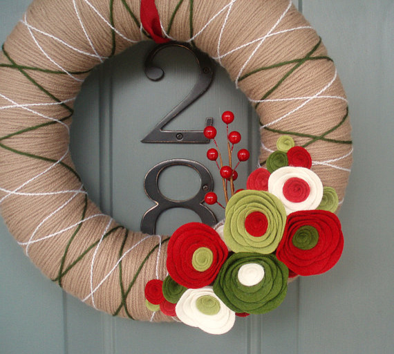 Yarn Wreath, Holiday Special by Itz Fitz contemporary-outdoor-holiday-decorations