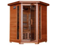 HeatWave Hudson Bay Three-Person Corner Cedar Infrared Sauna with Carbon Heaters contemporary-bath-products