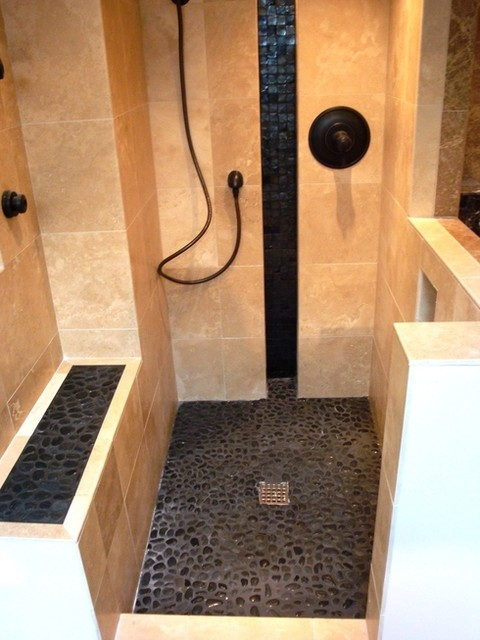 Pebble Tile Installation Photos contemporary-bathroom