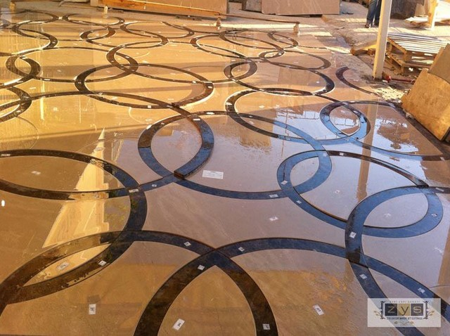 Custom Marble Water Jet Medallion traditional-wall-and-floor-tile