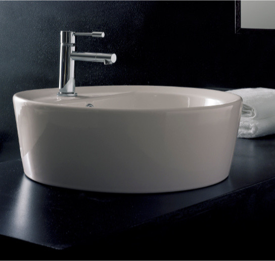 Elegant Drop In White Ceramic Round Sink By Scarabeo Contemporary Bathroom Sinks