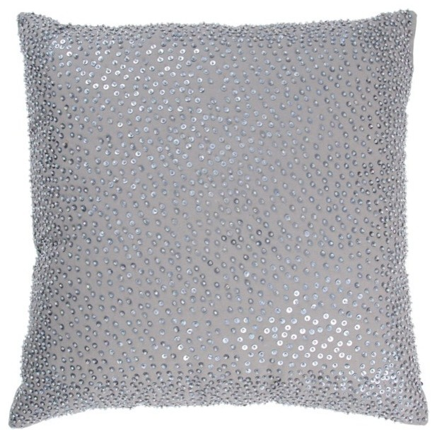 Silver Decorative Bed Pillows : Rizzy Home - Gray and Silver Decorative Accent Pillows (Set of 2) - T03130 - Traditional - Bed ...
