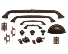 Criss-Cross Suite cabinet hardware collection in Venetian Bronze traditional hardware