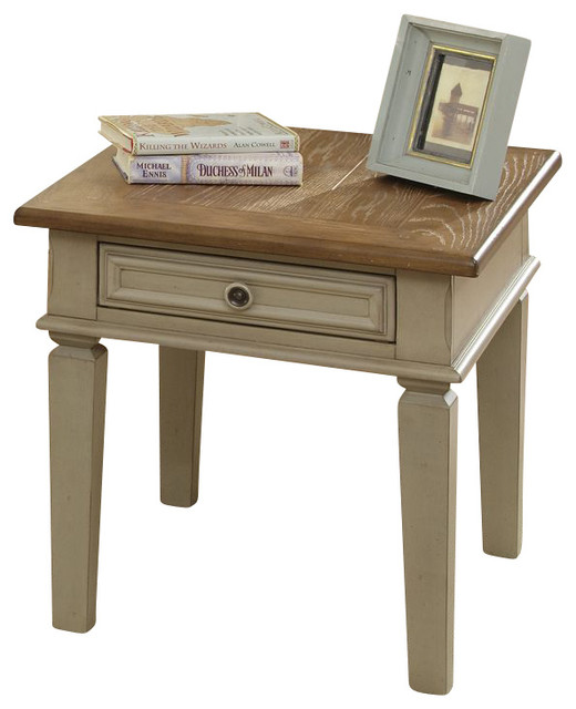 Liberty Furniture Bungalow 28x24 Rectangular End Table in Ivory, Light Wood traditional-side-tables-and-accent-tables