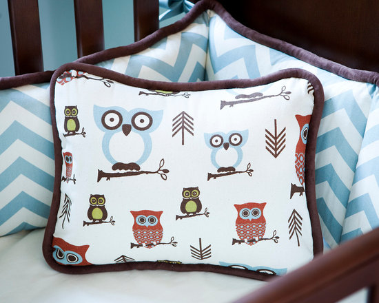 Retro Owls Crib Bedding - Pillow front in Retro Owls fabric, with reverse side in Zig Zag Stripes. Edged in Solid Chocolate Minky piping.