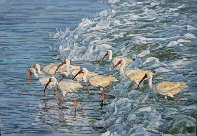 Ibis in the Surf Painting by Our Boat House tropical