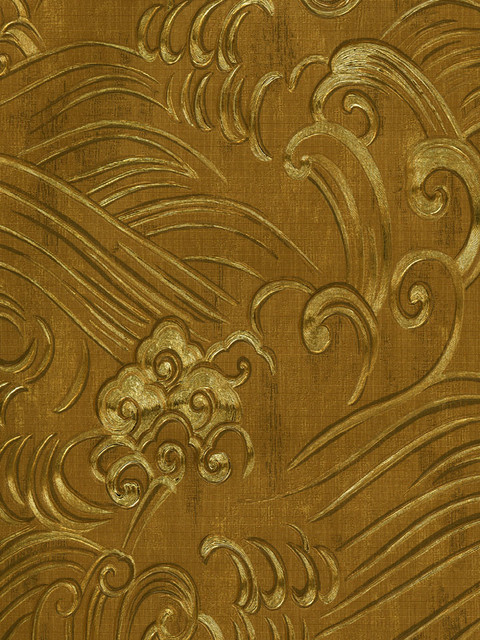Chinoiserie Waves Wallpaper In Gold Foil By Brewster