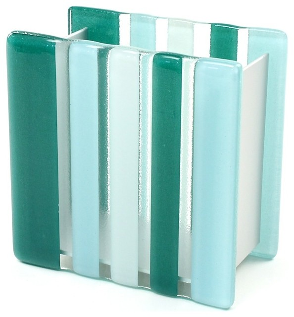 Light blue or green glass aluminum toothbrush holder for Blue glass bath accessories