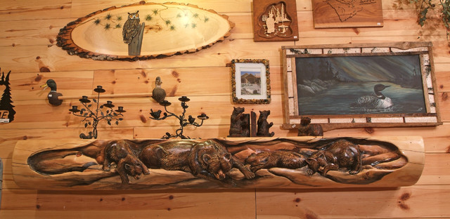 Hand Carved Rustic Log Mantel Rustic Fireplace