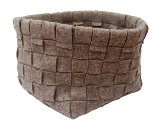 """Grey Woven Basket - Our large woven baskets are made of grey strips of natural felt, pieced together in a beautiful traditional weave by hand. The large basket measures 11"""" x 11""""(279.4mm x 279.4mm) and is 9.5""""(241.3mm) high. Use it to hold magazines, books, newspapers, toys, diapers, or just about anything! It is perfect for your home or office space."""