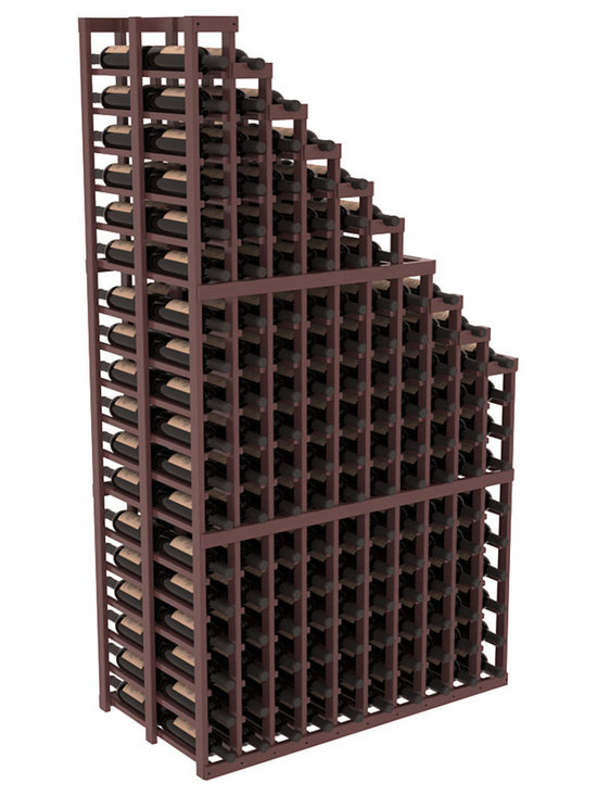 Double Deep Wine Cellar Waterfall Display Kit in Pine with Walnut Stain + Satin - The same beautiful cascading waterfall but in a double deep capacity. Displays 18 choice vintages in a tiered fashion. Designed within our modular specifications and to Wine Racks America's superior product standards, you'll be satisfied. We guarantee it.