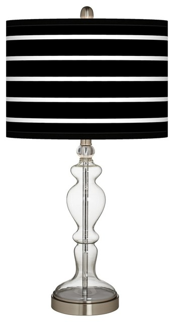 Contemporary Bold Black Stripe Apothecary Clear Glass Table Lamp contemporary-table-lamps