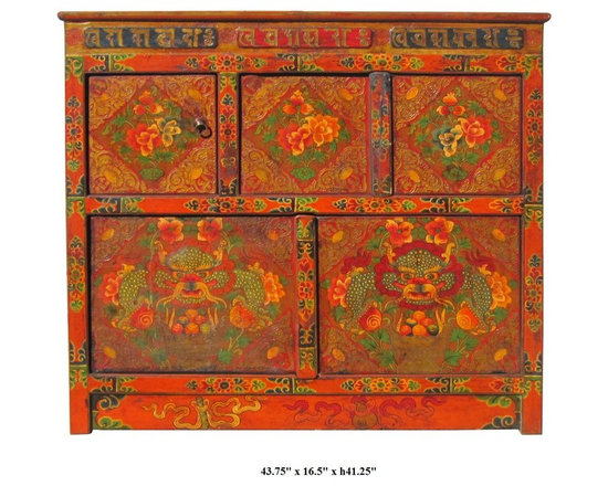 "Tibetan Dragon & Peony Flower Graphic Wooden Cabinet / Altar Table - You are looking at a unique Tibetan dragons & peony flowers graphic wooden cabinet. There are two compartments separated by 3 hidden doors. This is the traditional "" No Nails"" design with art works hand painting."