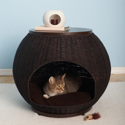 The Igloo Deluxe Wicker End Table Cat Bed Modern Dog