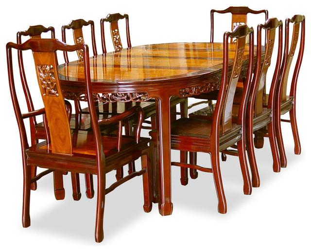 80in rosewood flower design oval dining table with 8 for Oriental dining table
