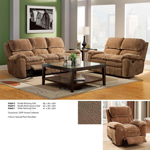 Reclining living room set in brown microfiber traditional furniture