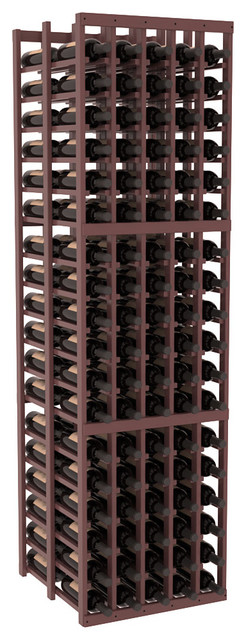 5 Column Double Deep Wine Cellar in Pine, Walnut + Satin Finish contemporary-wine-racks