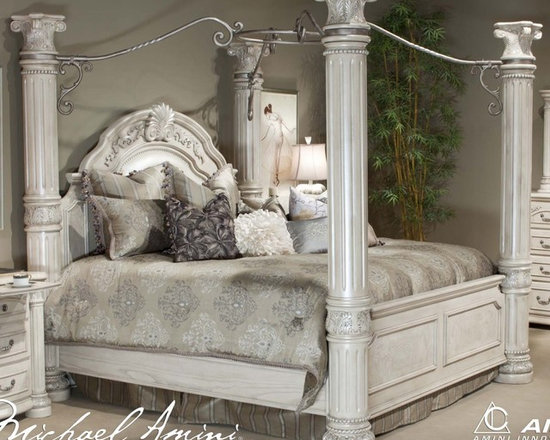 AICO Furniture - Monte Carlo II Queen Poster Bed in Silver Pearl - N53000QP-03 - Sillver Pearl Finish