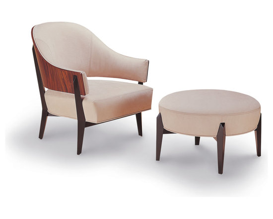 Studio Workshops-Quatrain - Kyoto Lounge Chair and Ottoman - Laminated figured rosewood and solid mahogany legs and stretchers with upholstered seat and back, single welt trimmed.  The outside back give hand-rubbed natural finish with ebonized and supports.