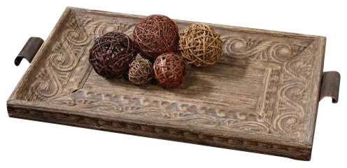 Uttermost Camillus Wood Framed Decorative Tray contemporary-serving-trays
