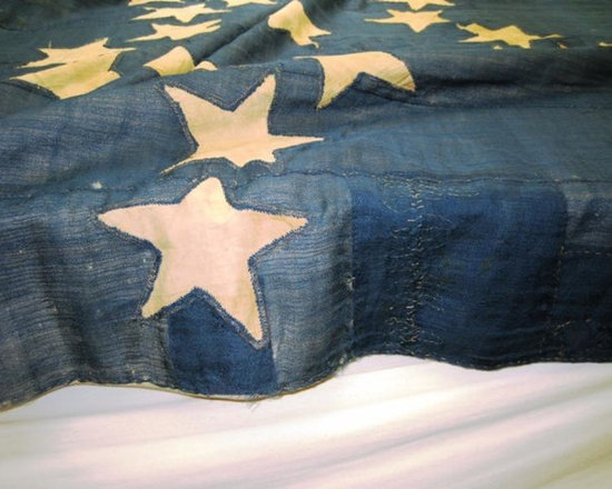 American history! - This close up of the an American flag from 1831 shows were we had made gentile alterations to restore this to it's original glory.