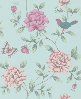 Isabelle Blue Wallpaper By Monsoon traditional-wallpaper
