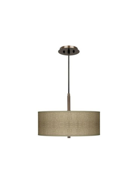Modern Bronze with Burlap Print Three Light Pendant -
