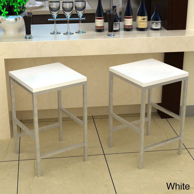 Carson White 24 Inch Stool Contemporary Bar Stools And