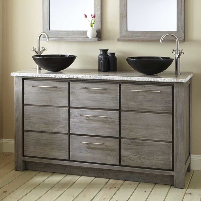60 Venica Teak Double Vessel Sinks Vanity Gray Wash Contemporary