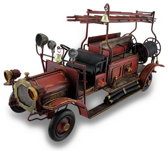Red Antique Fire Truck Decorative Metal Statue - Traditional - Decorative Objects And Figurines ...