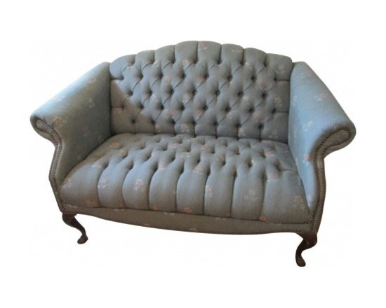 Blue Tweed Tuffted Sofa - Blue tweed tuffted sofa with nailhead trim and claw feet.  Good size for end of the bed or that ideal apartment or loft style.