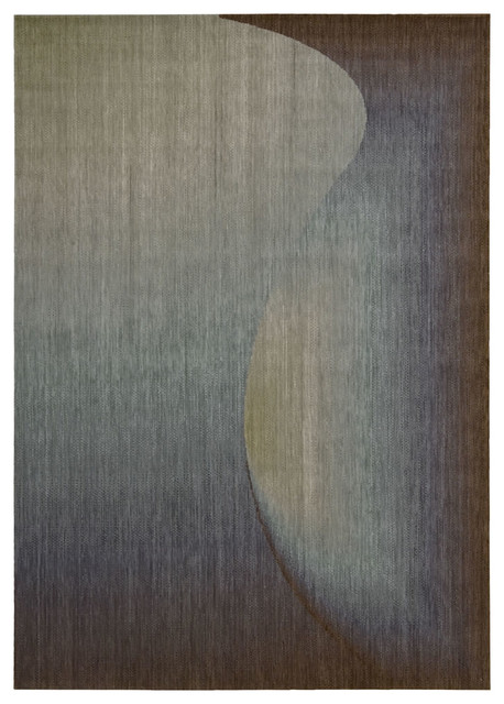 """Nourison Radiant Arts Sapphire Abstract Modern 2'3"""" x 4' Rug by RugLots contemporary-rugs"""