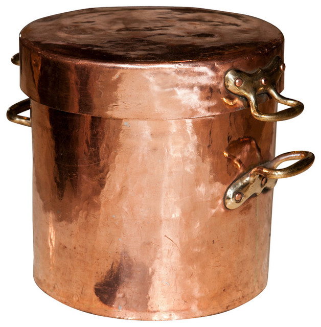 large copper pot with lid and castellated joints traditional specialty cookware by 1stdibs. Black Bedroom Furniture Sets. Home Design Ideas