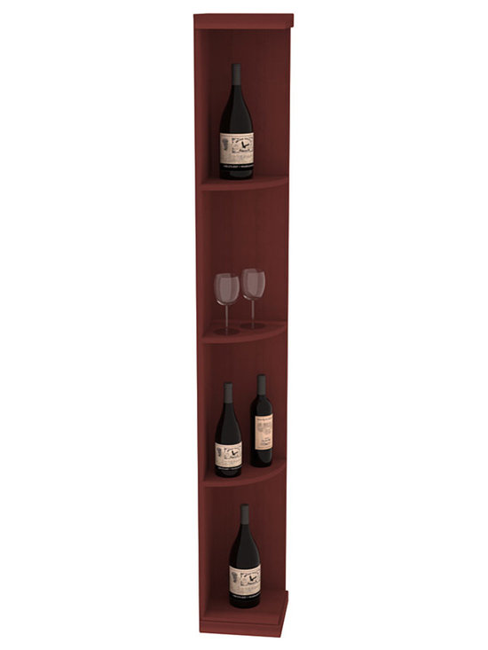 Quarter Round Wine Display in Redwood with Cherry Stain - Highly decorative Quarter Round Wine Displays are the perfect solution to racking around corners. Designed with a priority on functionality, these wine storage units are excellent as end caps to walls of wine racking or as standalone shelving.