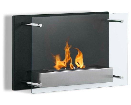 Moda Flame - Epila Wall Mounted Ethanol Fireplace - Epila contemporary fireplace offers a decorative black steel backdrop with a elusive glass front. The Epila ethanol fireplace casts a stylish yet sleek element to any room while bring environs from the flame of a real fire.
