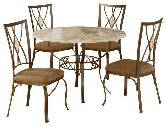 Hillsdale Brookside 5 Piece Round Dinette Set With Diamond Back Chairs Tran