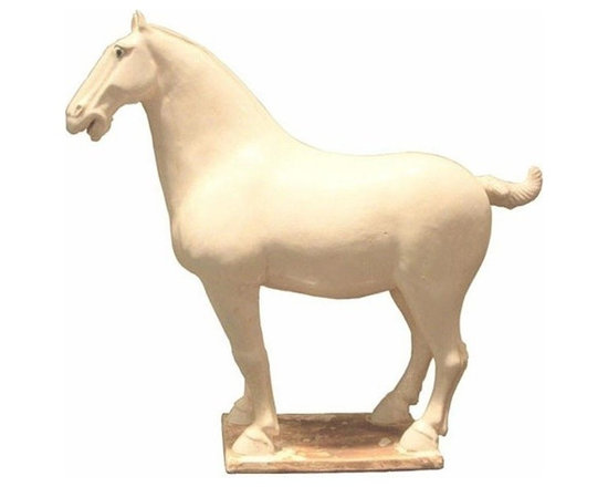 Belle & June - White Tang Horse - Add nobility to any room with this regal stallion from Legends of Asia. The Large White Tang Horse adds a masculine strength to a mantle or bookshelf.