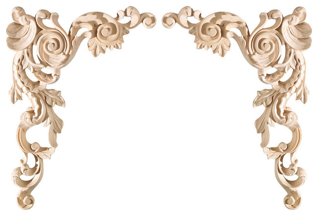 Large Spanish corner appliques (pair) eclectic-onlays-and-appliques