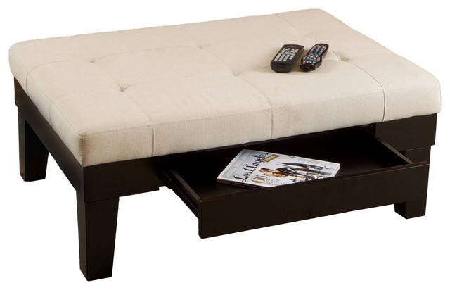 Tucson Natural Fabric Storage Ottoman Coffee Table Transitional Coffee Tables By Great